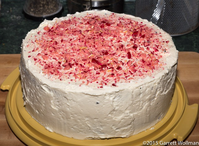 Birthday cake decorated with crushed peppermint candy