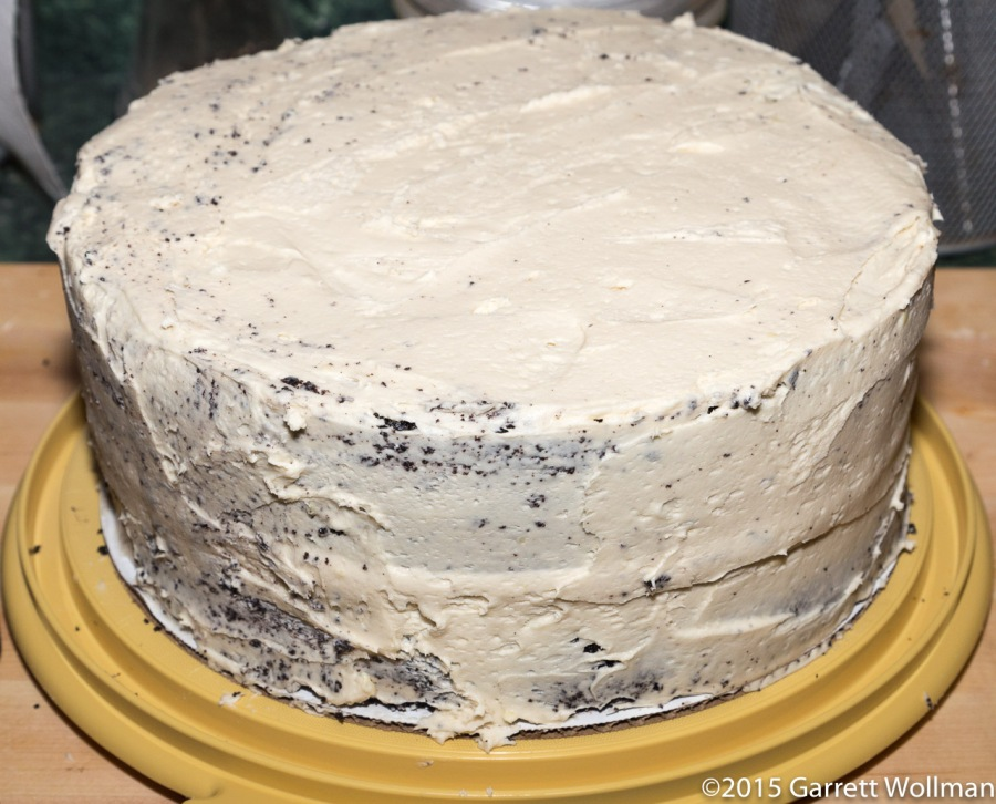 Filled and crumb-coated cake