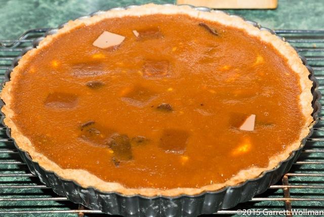 Baked tart, cooling on rack