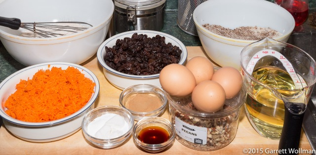 Mise en place for carrot cake