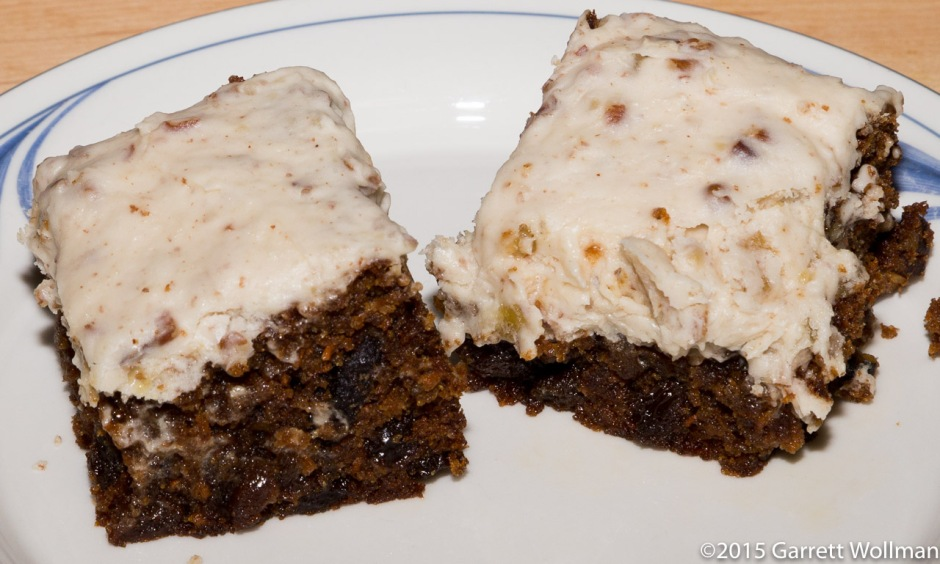 Two pieces of carrot cake