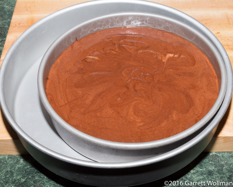 Torte batter in pan