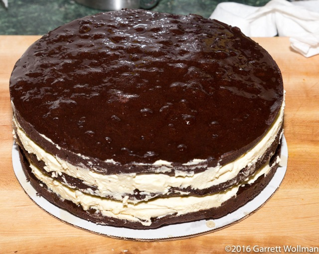 All three cake layers with filling