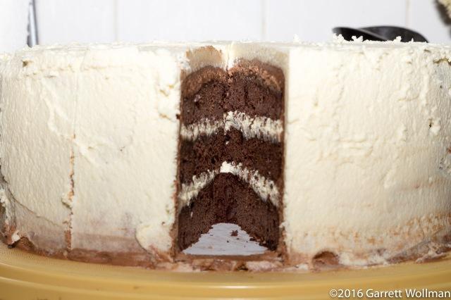 Cake minus one slice, edge on
