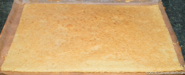 Very thin cake, baked and cooling rapidly