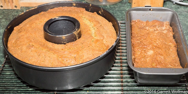3 pound cake in tube pan, 1 pound cake in loaf pan