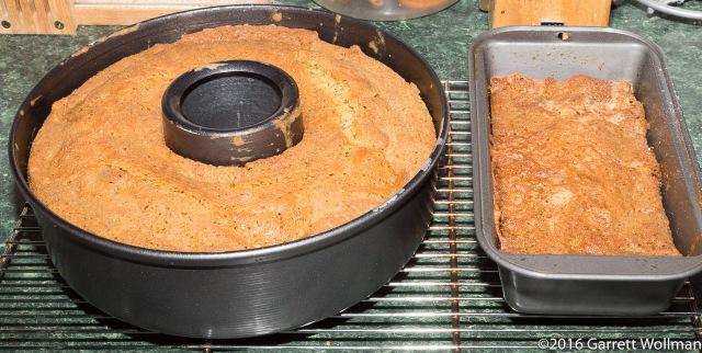 3 pound cake in tube pan, 1 pound cake in loaf pan