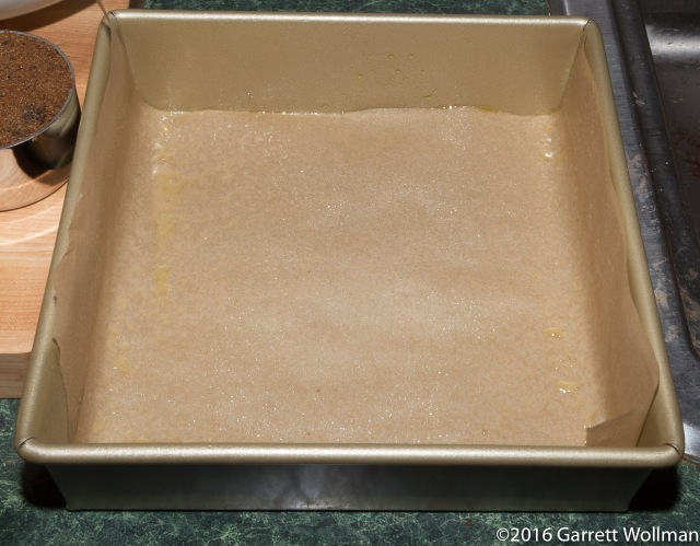 "8×8×2 baking pan with parchment ""sling"""