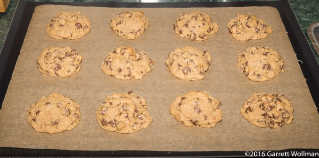 Fully baked cookies cooling on baking sheet