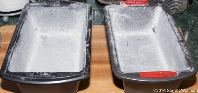 Two buttered and floured 9″×5″ loaf pans