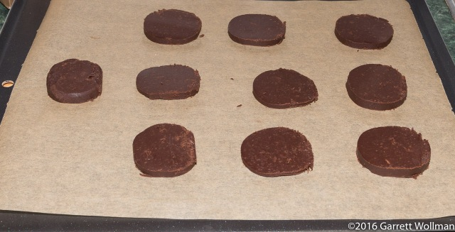 Circles of unbaked dough on cookie sheet