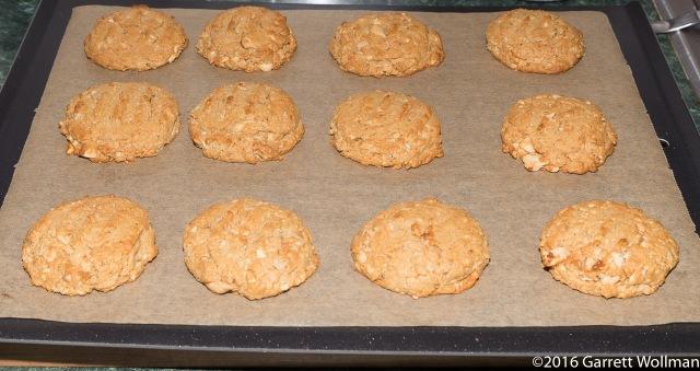 Twelve fully baked cookies