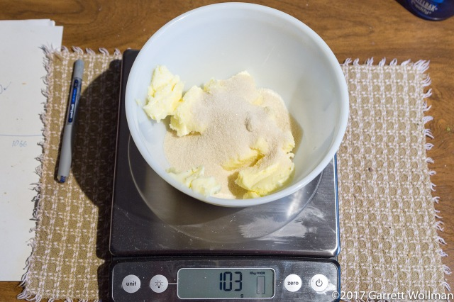 Measuring the sugar for the filling