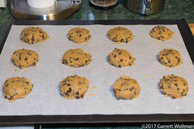 45-gram dough balls, squashed flat, on cookie sheet