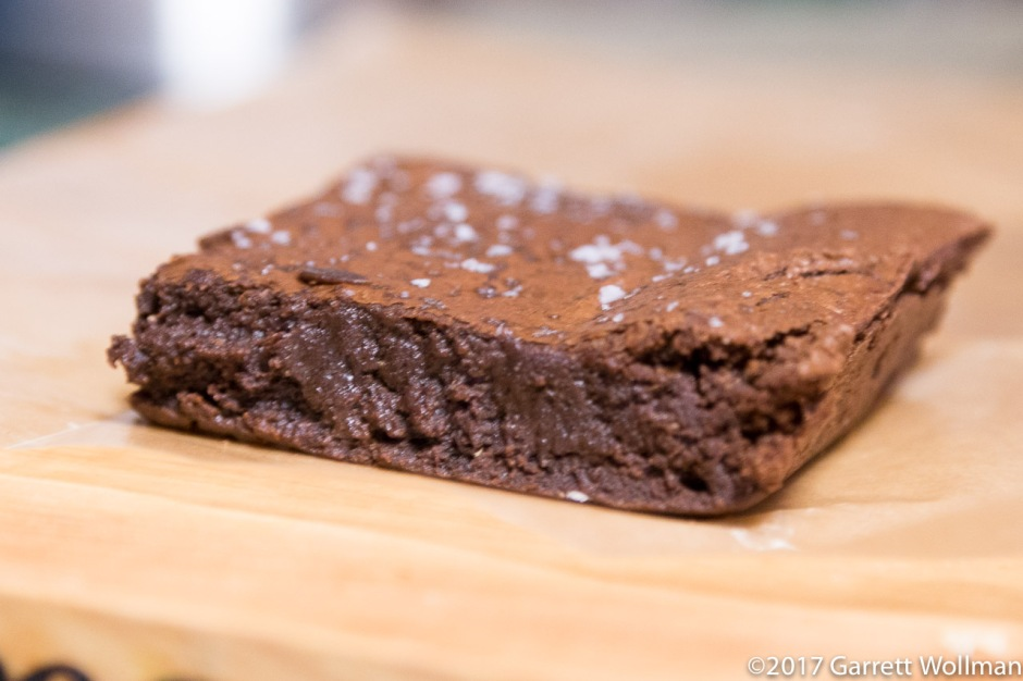 Single brownie, edge on (w/o flash to avoid highlights)