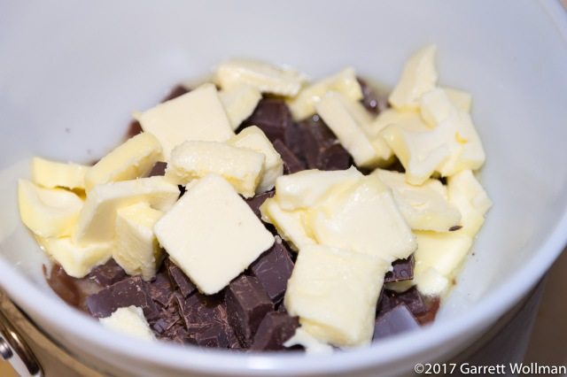 Chocolate and butter melting in double boiler