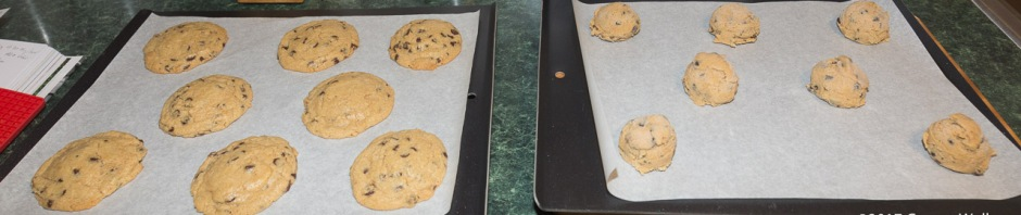 Cookies, baked and unbaked, on cookie sheets