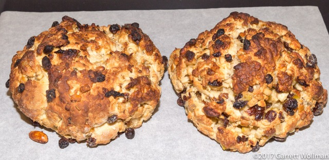 Craggy, and over-browned yet not quite fully baked loaves