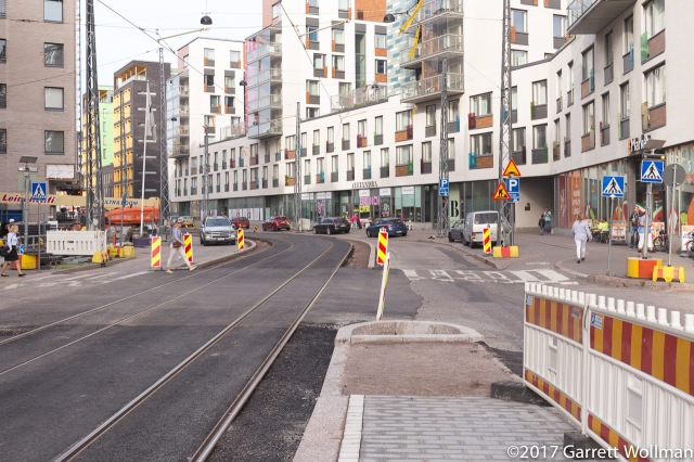 Looking west from the tram stop on Välimerenkatu
