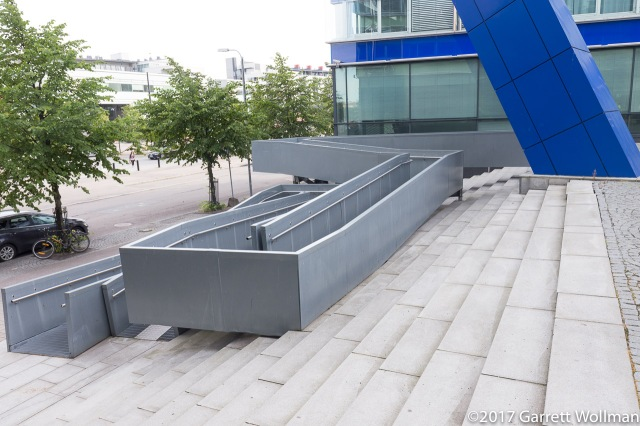 Wheelchair ramp between two of the HTC buildings