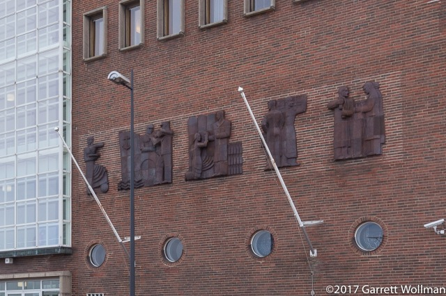 Bas-reliefs on the front of the courthouse