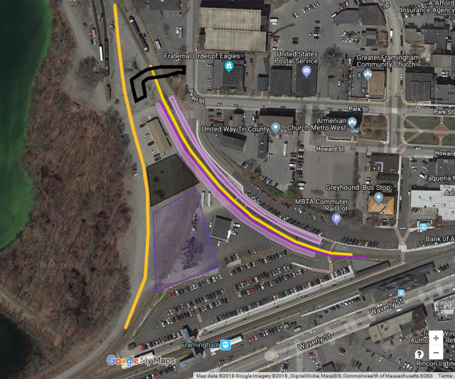 Diagram drawn on a Google Maps aerial photo showing new platforms and tracks at Framingham station