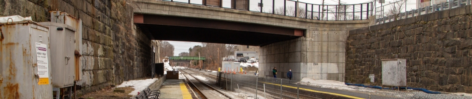 Natick Center station, seen during construction, looking west at platform level